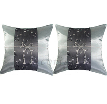 Set 2 SILVER Silk Throw Square Decorative Pillow Cases with Chinese Flor... - $14.99