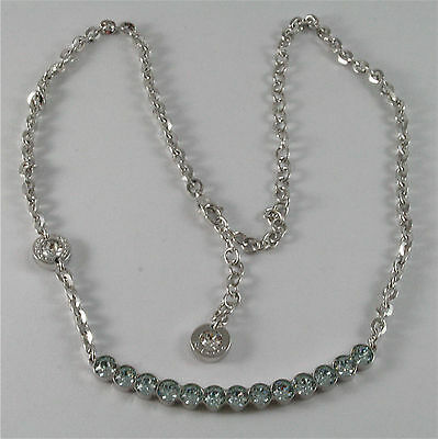 WHITE GOLD PLATED BRONZE REBECCA TENNIS NECKLACE BPBKBL14 MADE IN ITALY 18.90 IN