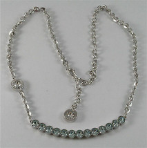 WHITE GOLD PLATED BRONZE REBECCA TENNIS NECKLACE BPBKBL14 MADE IN ITALY 18.90 IN image 1