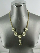 white stone flower fashion costume drop necklace lobster clasp - $9.46