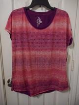 Women's Made For Life Short Sleeve Print T Shirt Pink Purple Size Medium... - $14.84