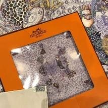 Hermes Scarf Rencontre Oc EAN Silk 90 Cm White Purple Carre - $328.23