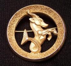 Vintage Crown Trifari Capricorn Zodiac Pin Brooch - $19.67