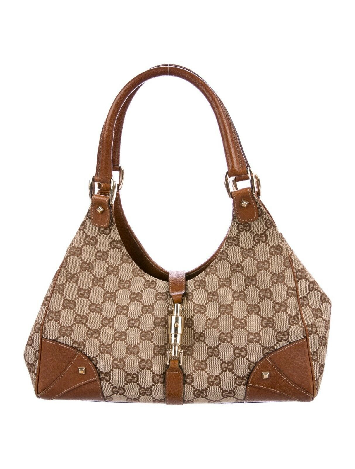 a7215c04 GUCCI Tan Brown Canvas Leather Trim GG Logo and 50 similar items