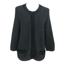 Ann Taylor Grey Black Cardigan Sweater Large NWT Grosgrain Trim Preppy C... - $39.59
