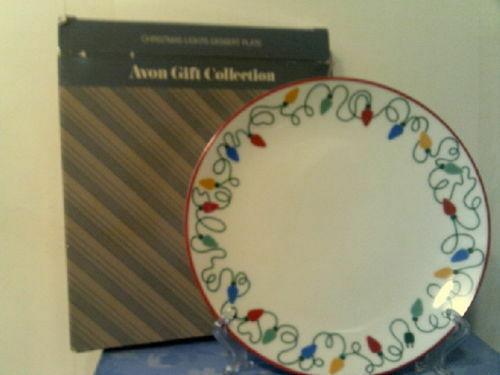 Avon Gift Collection Lot 1980's Denim Bear Stocking Christmas Lights Plate Denim
