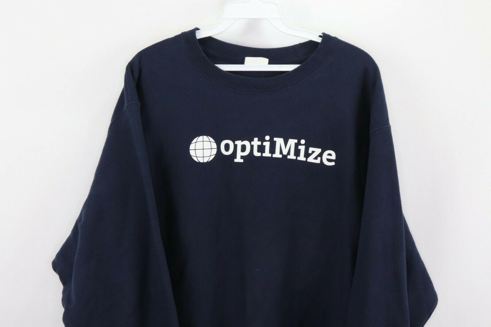 Champion Reverse Weave Mens Large Optimize Spell Out Crewneck Sweatshirt Blue image 2