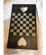 Vintage wooden decorative checkerboard wall hanging country distressed  - $9.90