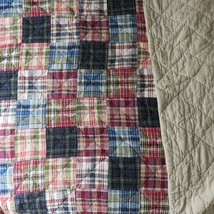 Vintage Nautica Plaid Patchwork Quilt Blanket 89 x 89 Square King Queen - $128.69