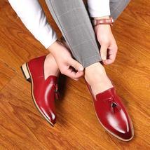 Handmade Men's Red Leather Slip Ons Loafer Tassel Shoes image 3