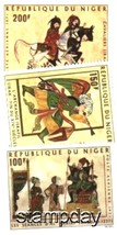 NIGER 1971 MNH PAINTINGS HORSES SOLDIERS MUSICAL INSTRUMENT 3252-A2 - $3.47