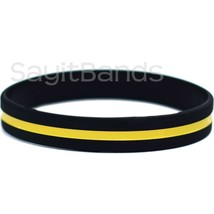 Set of Thin YELLOW Line Bracelets - Security Guard Awareness Wristband Lot - $1.48+