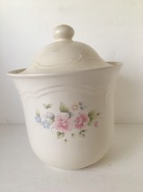 "Canister Cookie Jar Pfaltzgraff Canister Tea Rose 10"" Flour Sugar Cookies - $19.79"
