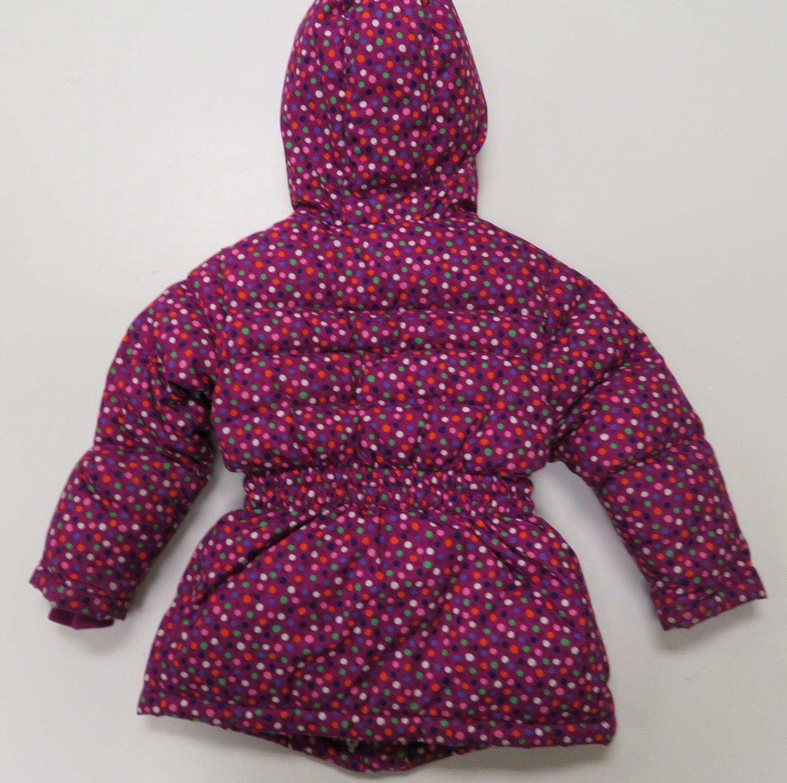Hanna Andersson Girls sz 110 Purple Polka Dot Puffy Down Jacket Coat Winter Hood