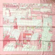 """Hermes Scarf Les Toits de Paris 90 cm Silk Pink Carre 35"""" R62 - $830.61"""