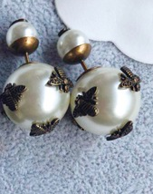 AUTH Christian Dior 2018 LIMITED EDITION TRIBALES WASP CD LOGO PEARL EARRINGS  image 5