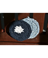 "Handmade Scrubbies (Dishcloth & Potholders) Navy Blue/Baby Blu 1/2"" Thic... - $2.69"