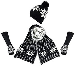 Bienvenu Women's Snowflake Hat Gloves and Scarf Winter Set,Black - $41.99
