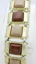 VTG Gold Tone Brown Beige Thermoset Plastic Square Bracelet - $29.70