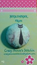 Crazy Cat #2 Needleminder fabric cross stitch needle accessory - $7.00
