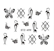 "HS Store - 1PCS Water DIY ""STZ-499"" Nails Black/White Hollow 3D Nail Art Sticker - $2.32"