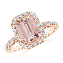 Vintage Style Inspired Emerald Cut Morganite Halo Ring 14K Rose Gold Siz... - $1,662.21+