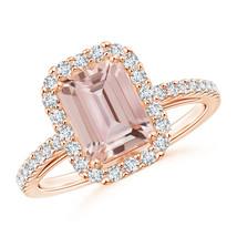 Vintage Style Inspired Emerald Cut Morganite Halo Ring 14K Rose Gold Siz... - £939.86 GBP+