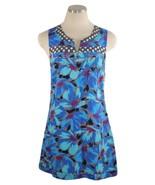 Free People Dress Sz 2 Blue Multi Color Floral Geometric print Mini - $9.89