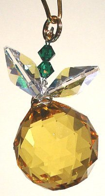 J'Leen Light Topaz Ball with Aurora Borealis Leaves Crystal Berry Ornament