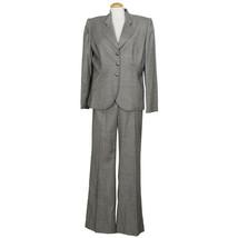 TAHARI Gray Fine Zig Zag Stretch Wool Blend Twill Wide Leg Pant Suit 14 - $139.99