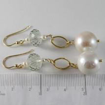 Yellow Gold Earrings 750 18k Pendants 6 CM, Prasiolite Cushion Cut and Pearls image 2