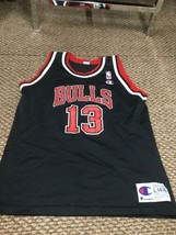 Rare Chicago Bulls Luc Longley Black Champion Jersey Youth Large 14-16 G... - $64.34