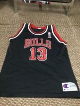 Rare Chicago Bulls Luc Longley Black Champion Jersey Youth Large 14-16 G... - $64.34