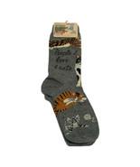 NWT Blue Co Womens Crew Cut Socks Cats People I Love Gray Kittens Cat Lo... - $11.30