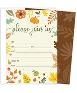 Koko Paper Co Fall Invitations in Autumn Colors with Pumpkin, Fruits and... - $14.90