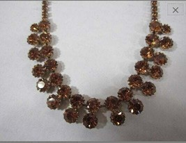 Vintage 1950's signed, WEISS Amber/Topaz Rhinestone Choker Necklace - $59.35