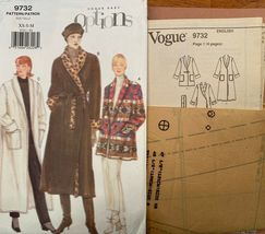 Vogue 9732 Options Wrap Coat/Jacket, Shawl Collar, Patch/Inset Pockets S... - $11.88