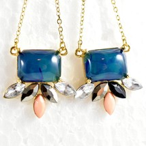 """Mode Blue Shourouk Style Look Lucite 2.75"""" Drop Dangle Post Earrings New w Tag image 2"""