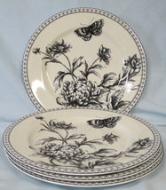 Charter Club Tuilleries Cream Floral Butterfly Salad Plate set of 4 - $70.18