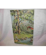 """Great Vintage 10"""" X 18"""" Paint By Number Fishing Scene Trees Boy Fishing ... - $67.54"""
