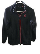 Used SPYDER Black/Red Full Zip Midweight Fleece Lined Jacket Youth  (L) ... - $14.84