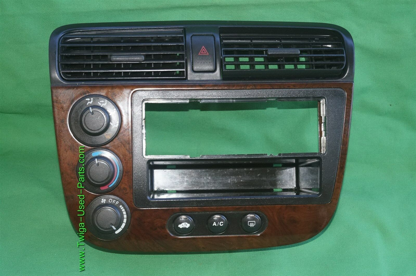 01-05 Acura EL Honda Civic Radio Bezel AC Control Dash Vents WoodGrain Trim