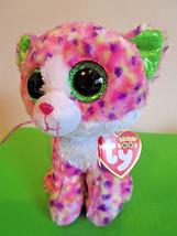 "TY Beanie BOOS 6"" CAT SOPHIE 2016 Rainbow Confetti PINK Plush GREEN Ears... - $4.95"