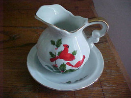 LEFTON China Small Pitcher and Bowl CARDINALS on a Holly Branch Vintage ... - $10.95