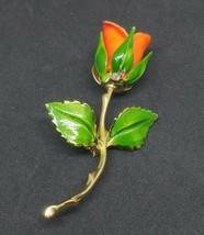 Vintage Giovanni Orange Rose Brooch Green Leaves Gold Tone Stem 1960's Signed - $14.84