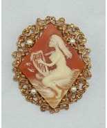Cameo Brooch Gold Tone Seed Pearls Woman Playing Lyre or Small Harp - $26.02