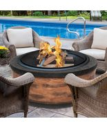35-Inch Cast Stone Base Fire Pit w/Dome Screen and Poker - $345.00