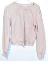 Garage Clothing Women's Pink Reverse Diagonal Knit Raw Hem Shirt Size S