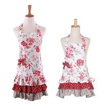 Floral Pattern Three Ruffles Adult Apron,100% Cotton Mama-Child Set Apro... - $27.44