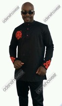 Odeneho Wear Men's Black Polished Cotton Top/Red Embroidery. African Clothing. - $120.00